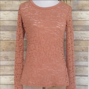 F21 Sheer Lace Long Sleeve Top